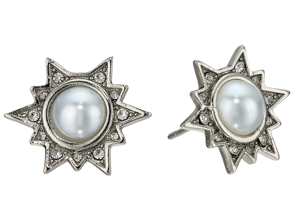 Rebecca Minkoff - Rock Stone Stud Earrings (Silver/Crystal/Pearl) Earring