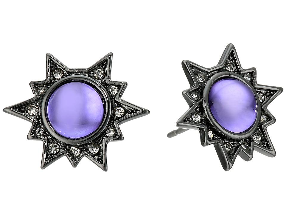 Rebecca Minkoff - Rock Stone Stud Earrings (Gunmetal/Lavender) Earring