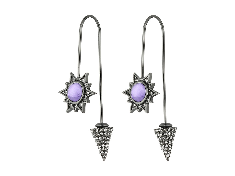 Rebecca Minkoff - Rock Hardwire Threader Earrings (Gunmetal/Lavender) Earring