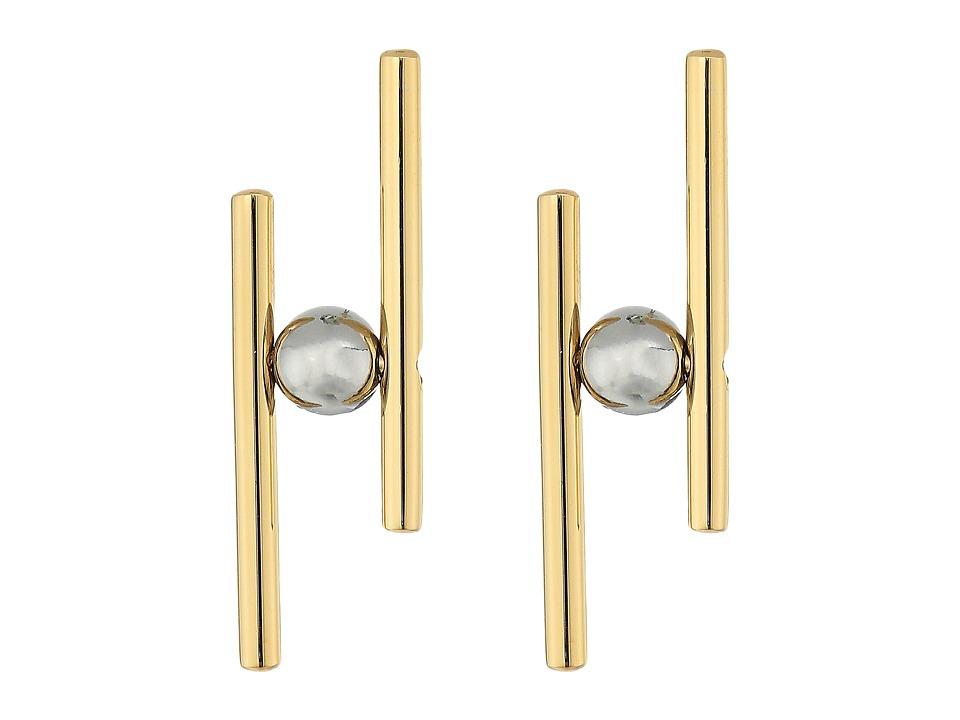 Rebecca Minkoff - Core Metal Linear Post Earrings (Gold/Silver) Earring