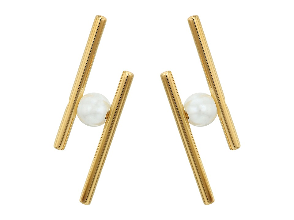 Rebecca Minkoff - Core Metal Linear Post Earrings (Gold/Pearl) Earring