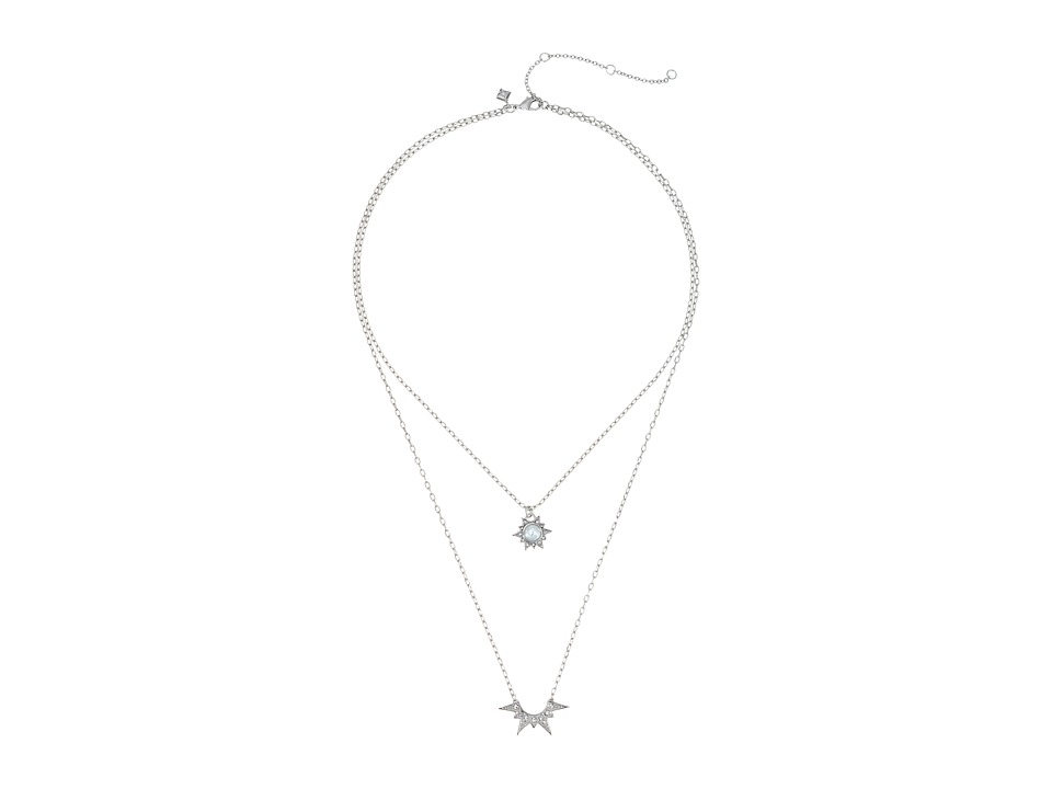 Rebecca Minkoff - Rock Double Layered Necklace (Silver/Crystal/Pearl) Necklace