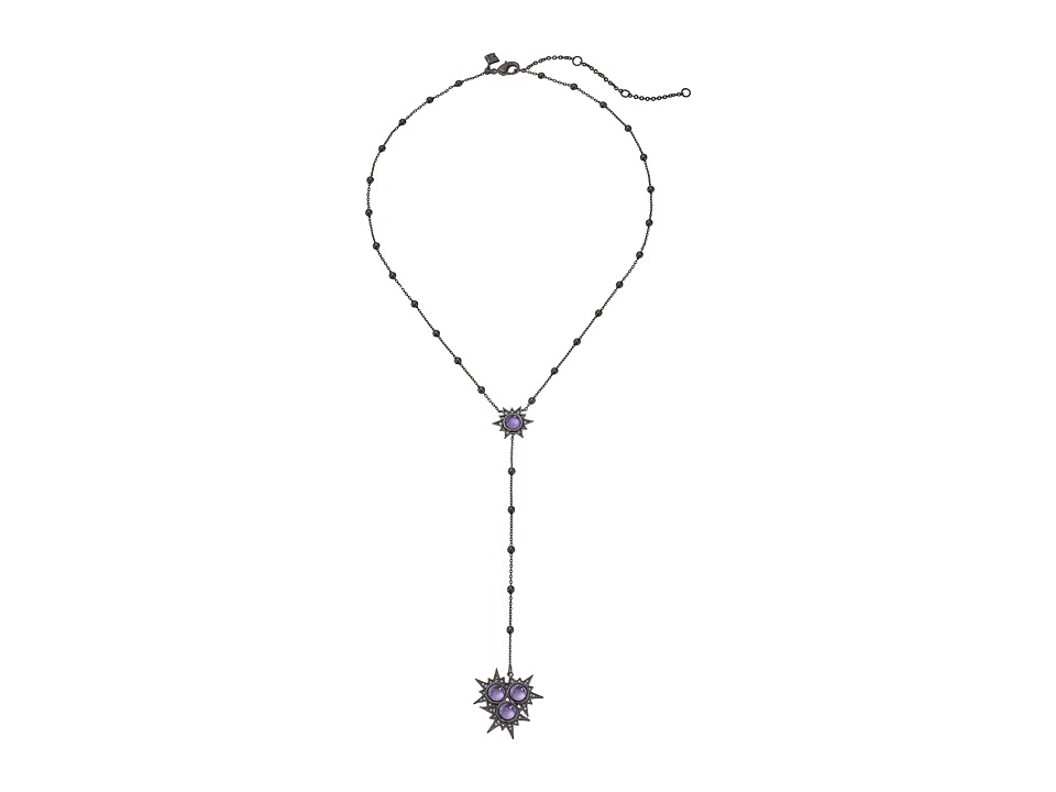Rebecca Minkoff - Rock Beaded Y Necklace (Gunmetal/Lavender) Necklace