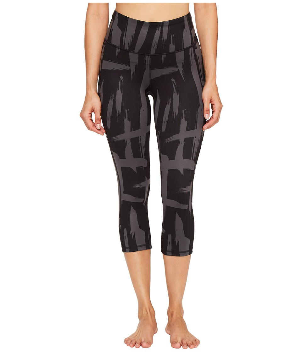 Lucy - Perfect Core Capri Leggings (Lucy Black/Fossil Brush Stroke Print) Women's Capri