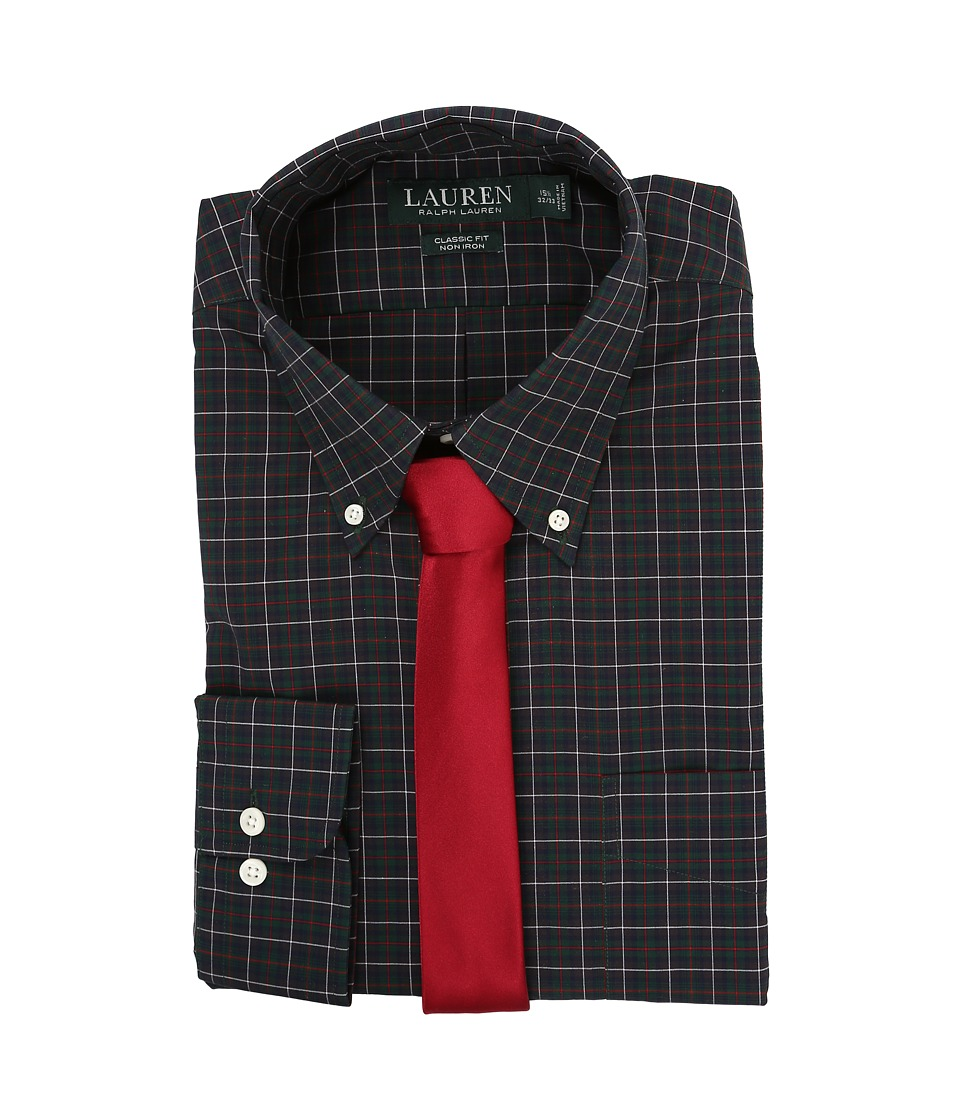 LAUREN Ralph Lauren - Poplin Checks Classic Pocket Dress Shirt (Green/Red/White) Men's Clothing