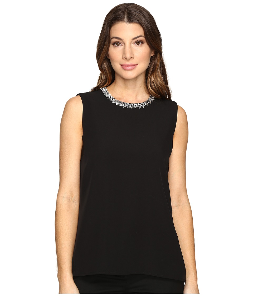 Calvin Klein - Embellished Shell Blouse (Black) Women's Blouse