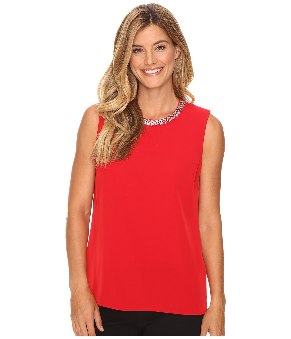 Calvin Klein - Embellished Shell Blouse (Rouge) Women's Blouse