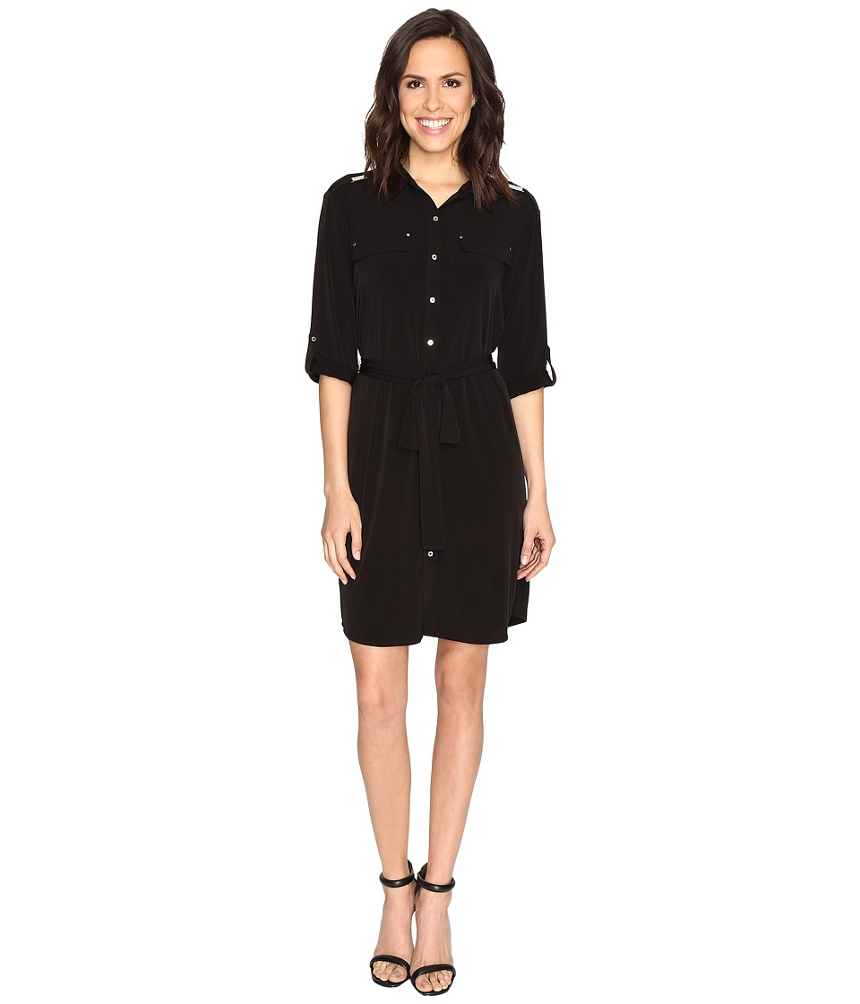 Calvin Klein - Roll Sleeve Shirtdress (Black) Women's Dress