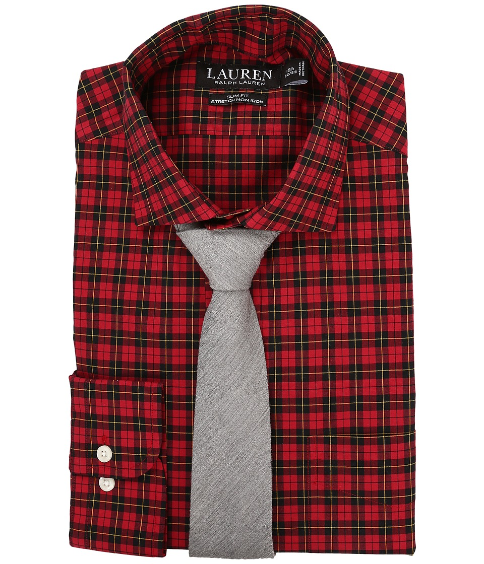LAUREN Ralph Lauren - Slim Fit Stretch Poplin Dress Shirt (Red/Black/Multi) Men's Clothing