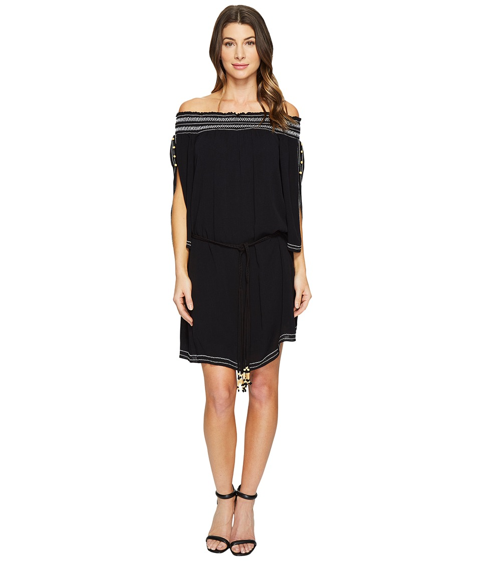 Hale Bob - A Place In The Sun Crinkle Rayon Gauze Off Shoulder Dress (Black) Women's Dress