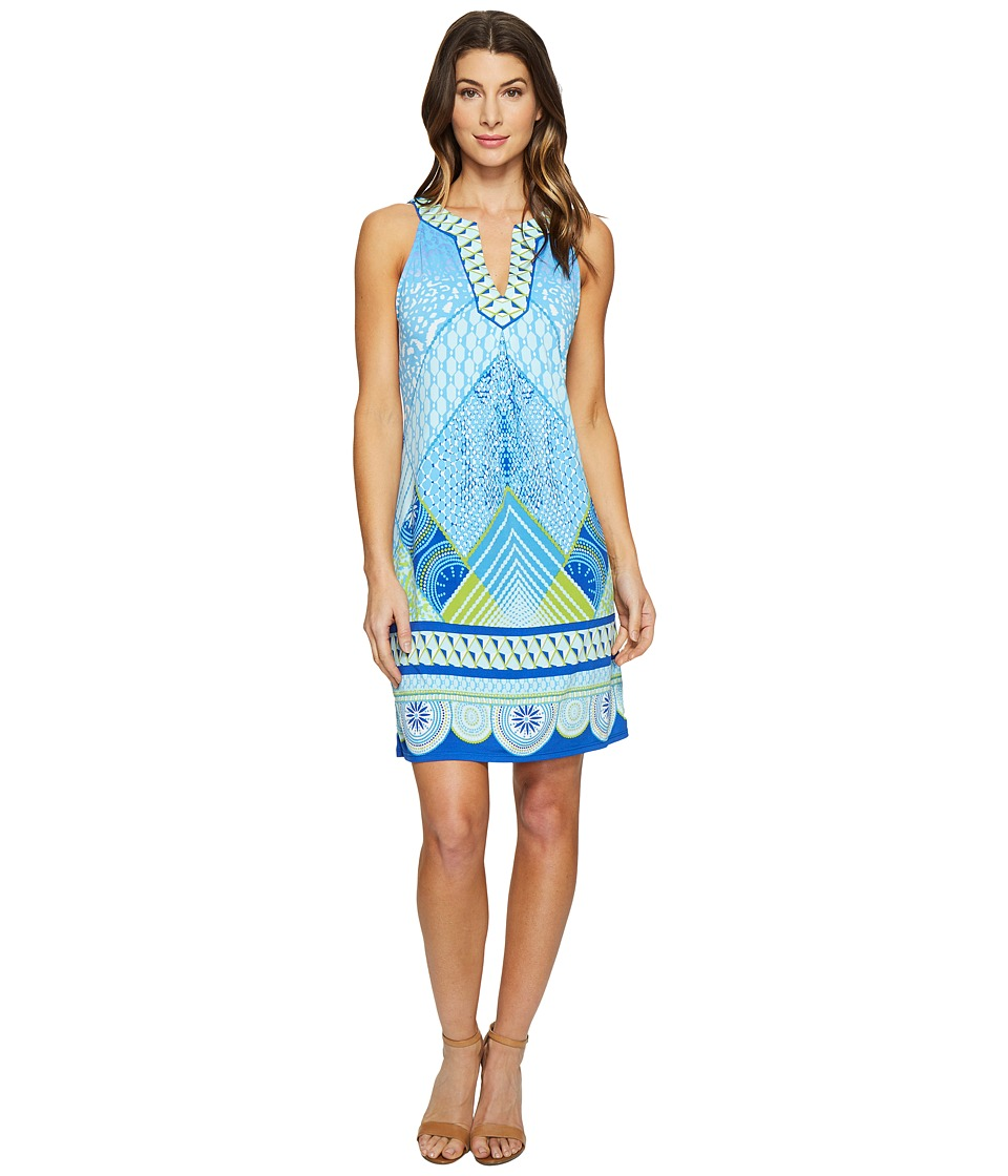 Hale Bob - Graphic Jungle Microfiber Jersey Sleeveless Dress (Blue) Women's Dress