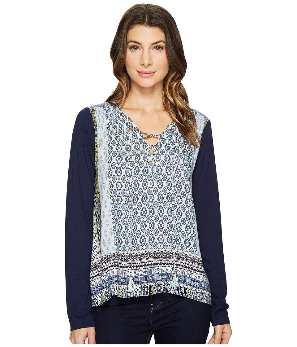 Hale Bob - Clean Slate Rayon Woven Long Sleeve Top (Light Blue) Women's Clothing