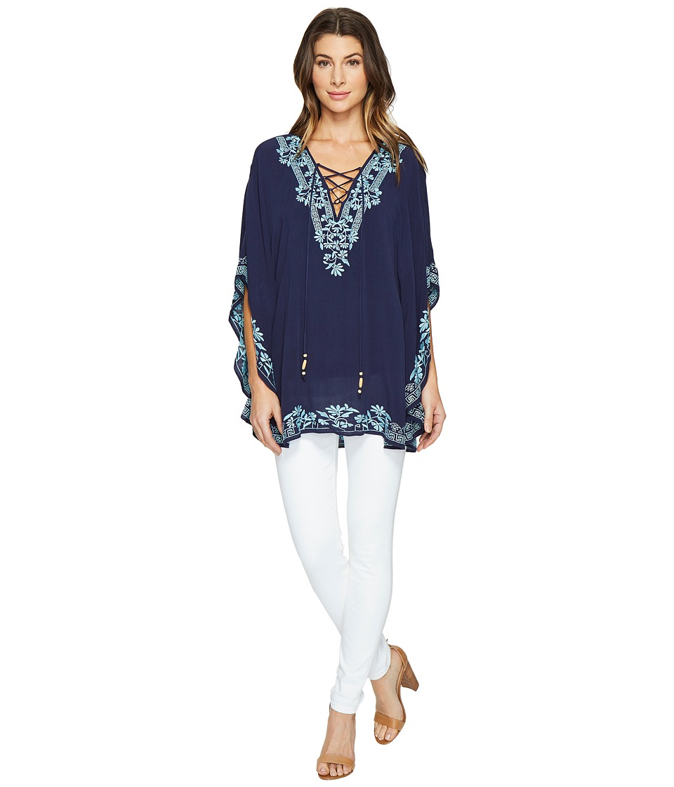 Hale Bob - Seas The Day Embroidered Crinkle Rayon Gauze Tunic (Navy) Women's Clothing