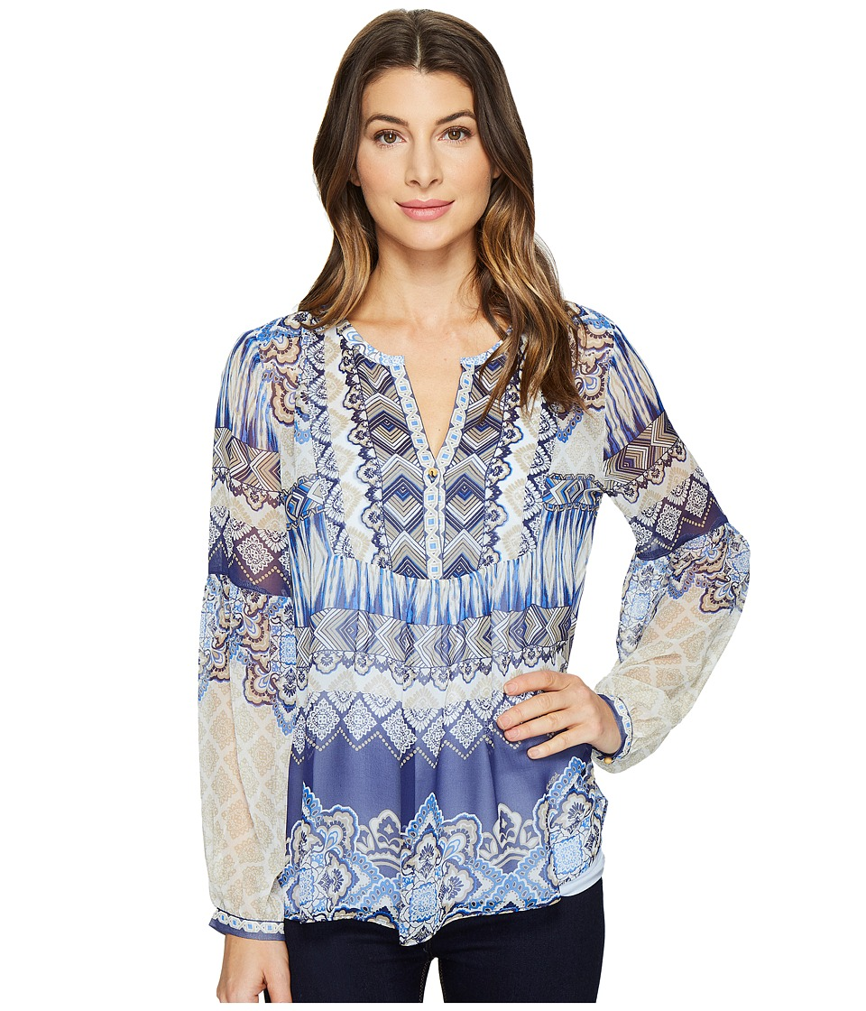 Hale Bob - Cruise Control Washed Silk Georgette Top (Navy) Women's Clothing
