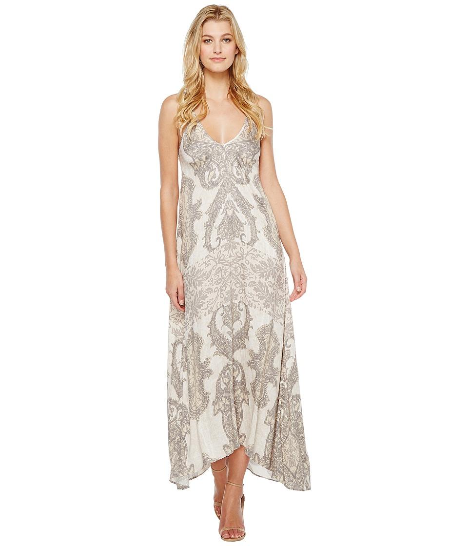 Hale Bob Sunny Spirit Rayon Strtech Satin Woven Maxi Dress (Beige) Women
