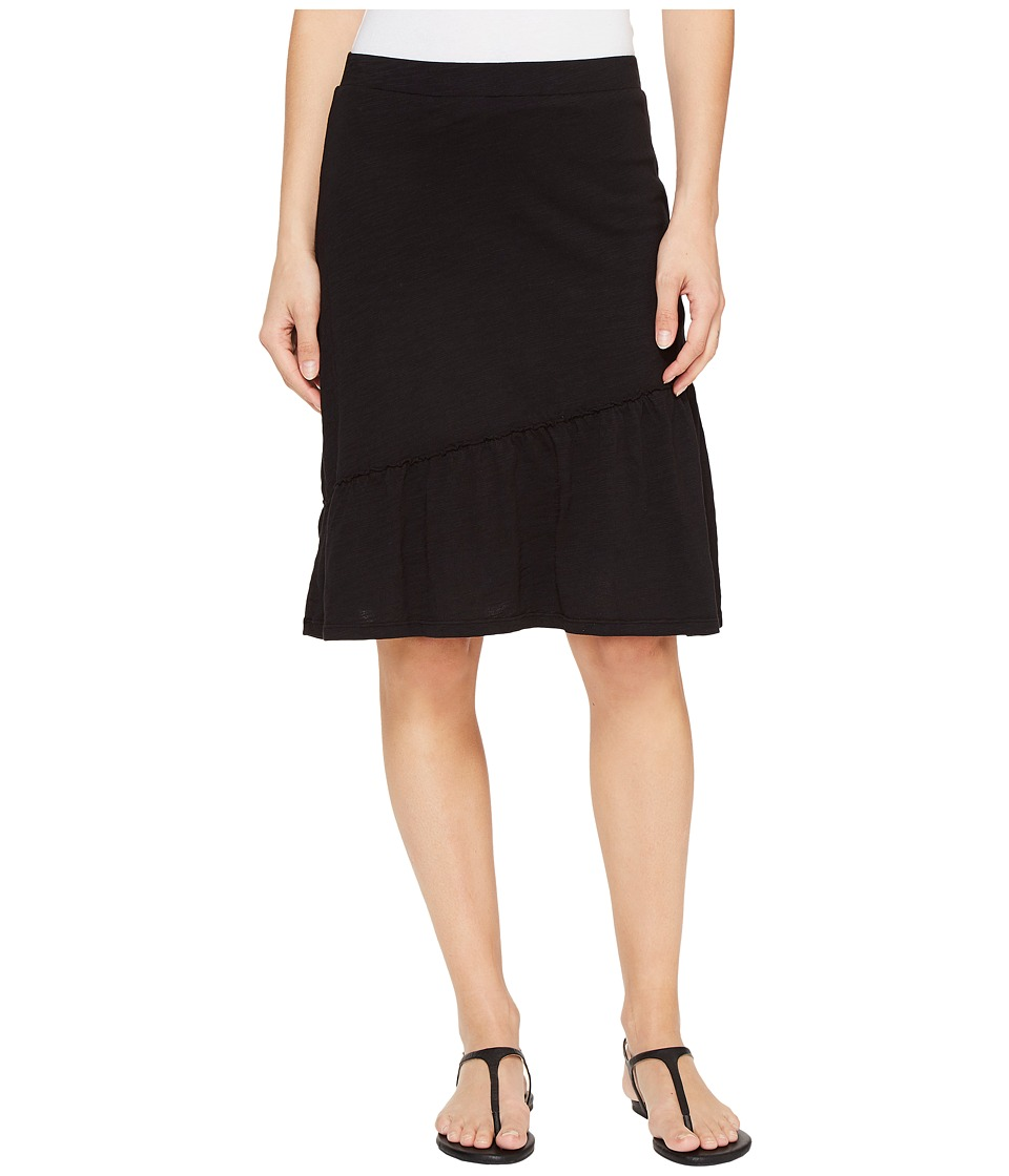Mod-o-doc - Slub Jersey Short Skirt with Asymmetrical Ruffle (Black) Women's Skirt