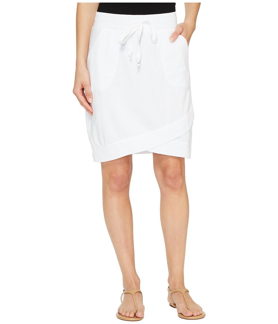 Mod-o-doc Cotton Modal Spandex French Terry Crossover Hem Pull-On Skirt (White) Women