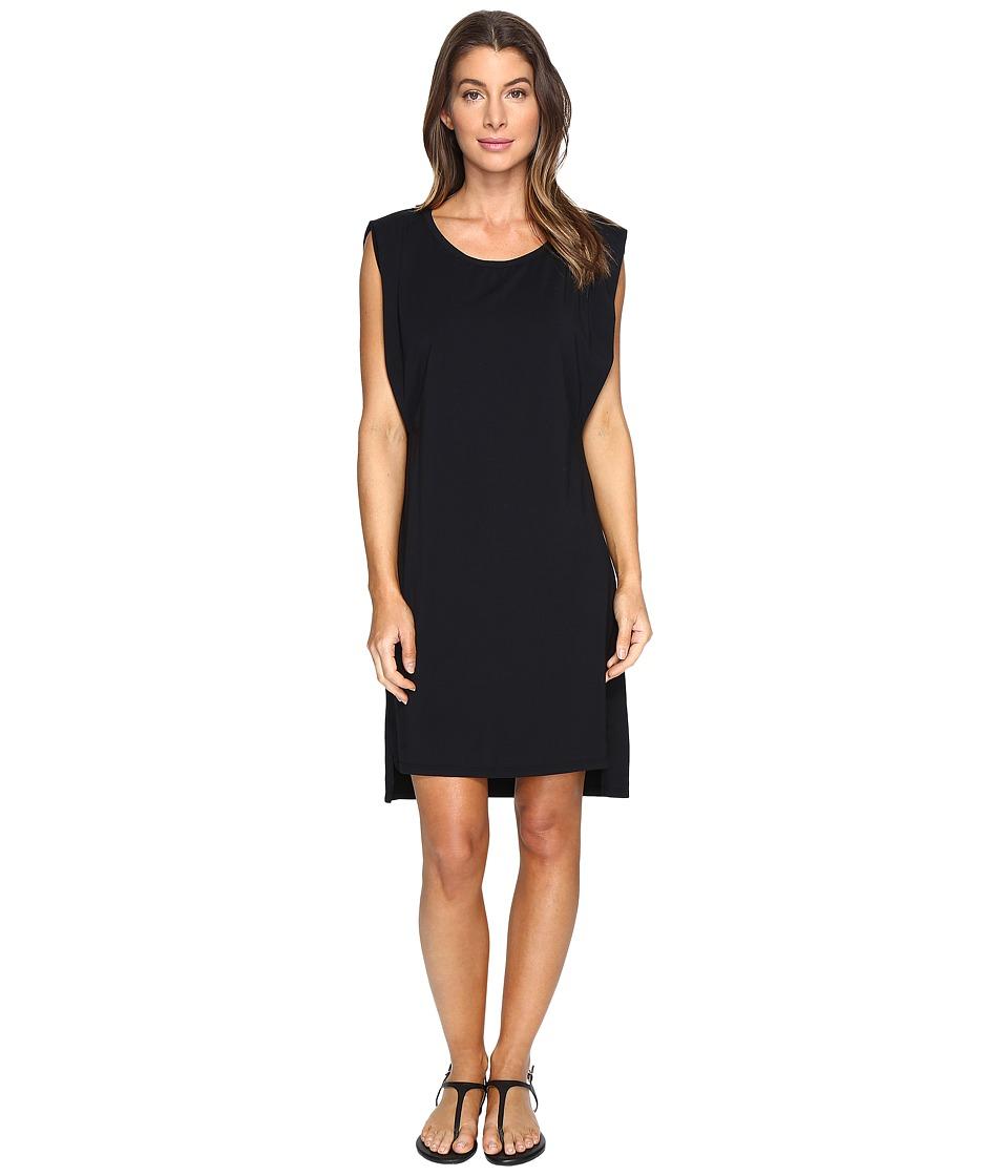 Mod-o-doc Cotton Modal Spandex Jersey Effortless Pleated Tank Dress (Black) Women