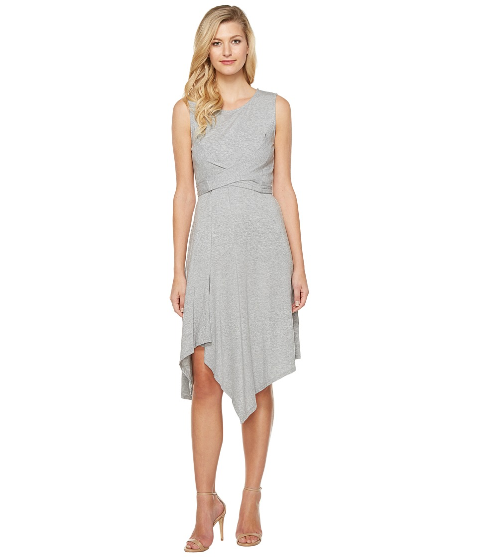 Mod-o-doc - Cotton Modal Spandex Jersey Faux Wrap Tie Back Dress (Smoke Heather) Women's Dress