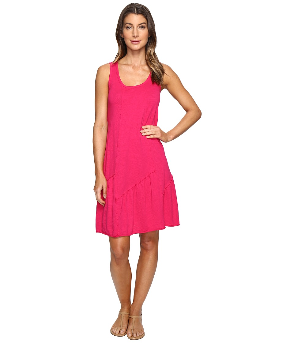 Mod-o-doc Slub Jersey Tank Dress with Shirred Asymmetrical Seam (Berry Red) Women