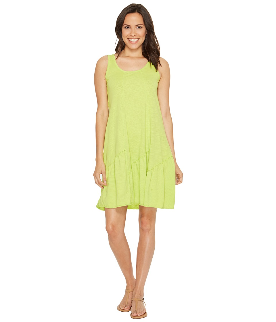 Mod-o-doc Slub Jersey Tank Dress with Shirred Asymmetrical Seam (Lime) Women