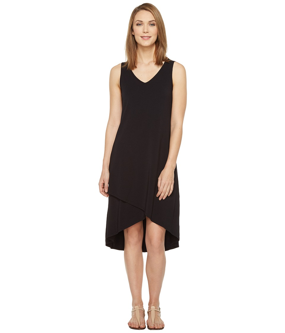 Mod-o-doc - Cotton Modal Spandex Jersey Crossover Hem Dress (Black) Women's Dress