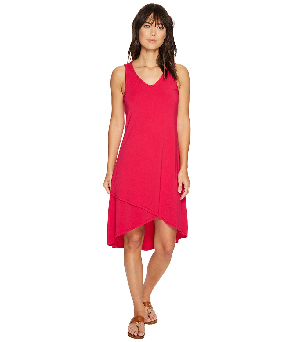 Mod-o-doc - Cotton Modal Spandex Jersey Crossover Hem Dress (Berry Red) Women's Dress