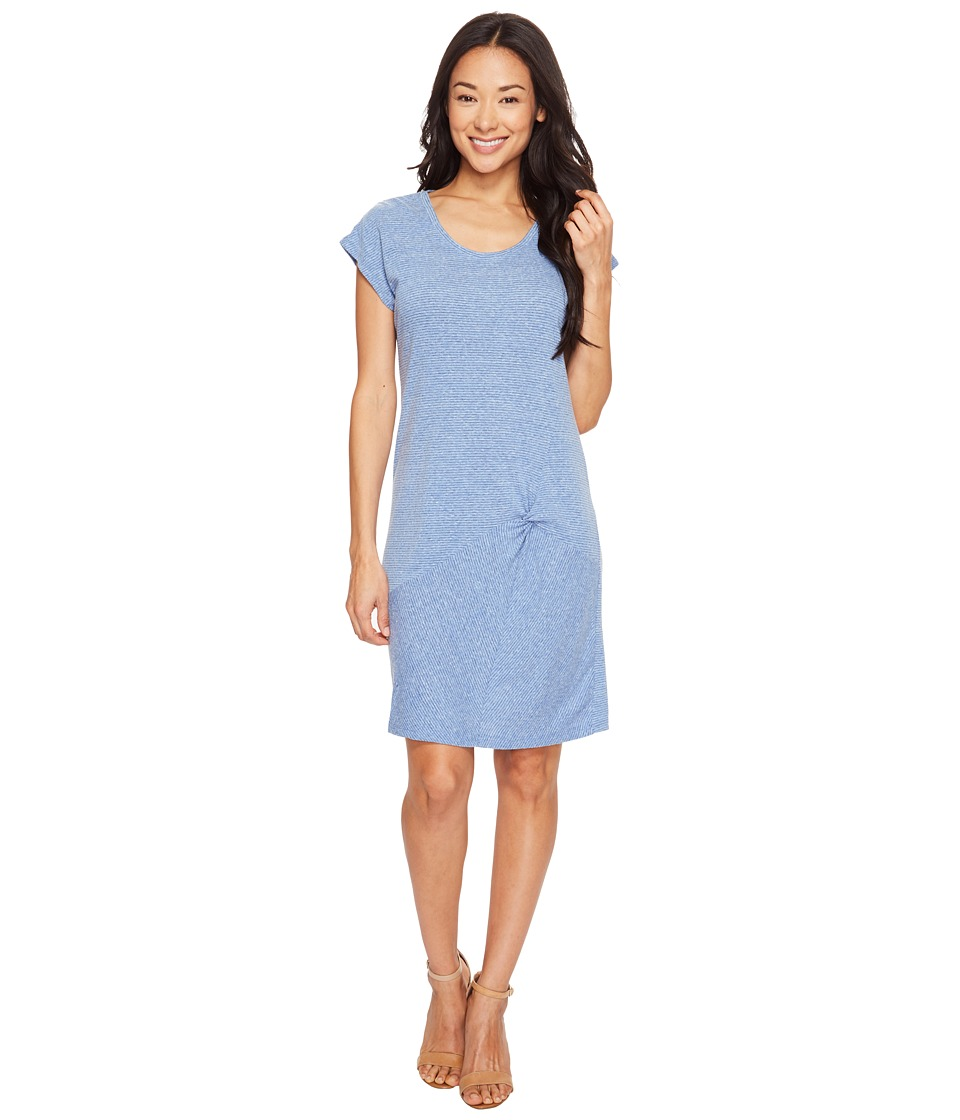 Mod-o-doc - Pinstripe Jersey Asymmetrical Twist Front T-Shirt Dress (Blue) Women's Dress