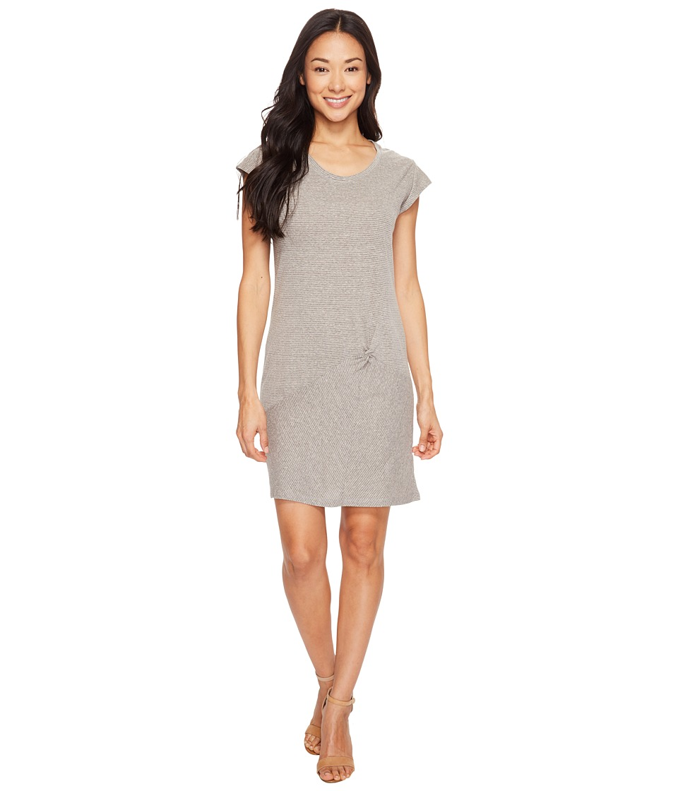 Mod-o-doc - Pinstripe Jersey Asymmetrical Twist Front T-Shirt Dress (Grey) Women's Dress