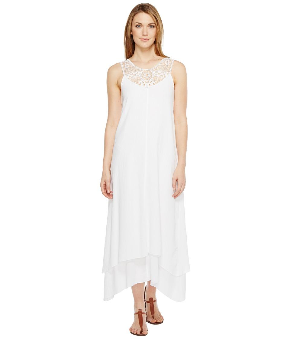 Mod-o-doc - Crinkle Cotton Crochet Slip Dress (White) Women's Sleeveless