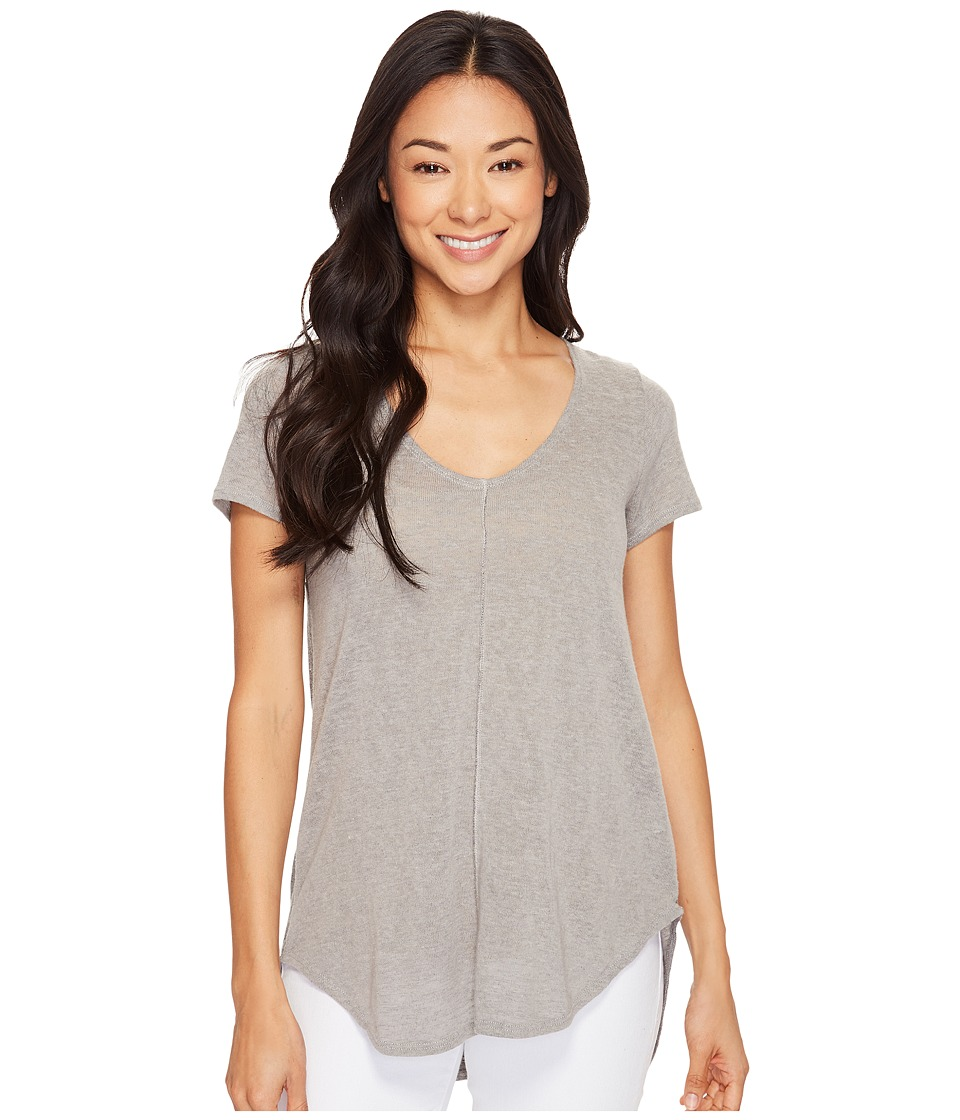 Mod-o-doc - Linen Blend Sweater Short Sleeve V-Neck Tee (Grey) Women's T Shirt