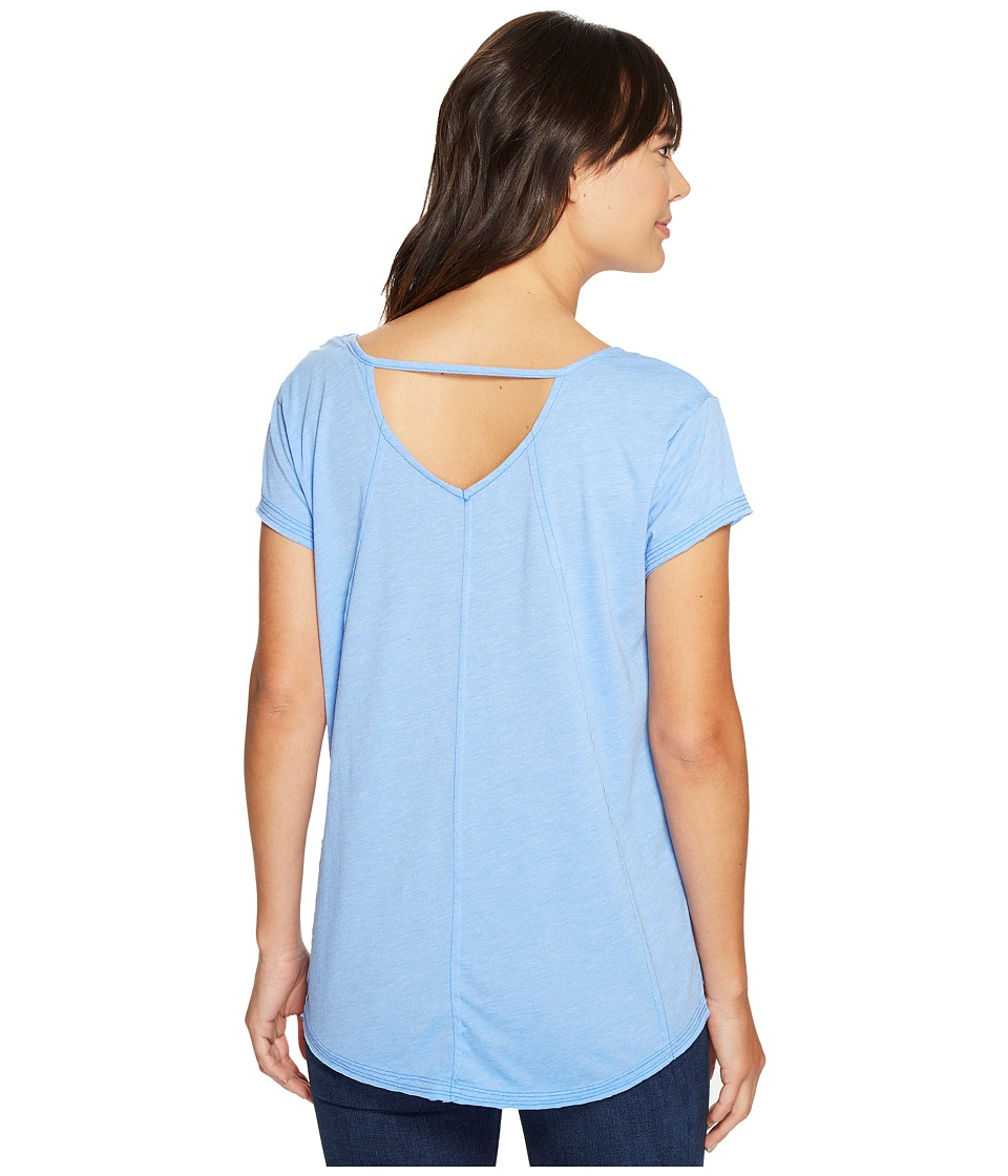 Mod-o-doc - Heather Jersey Raw Edge Keyhole Back Tee (Peri) Women's T Shirt