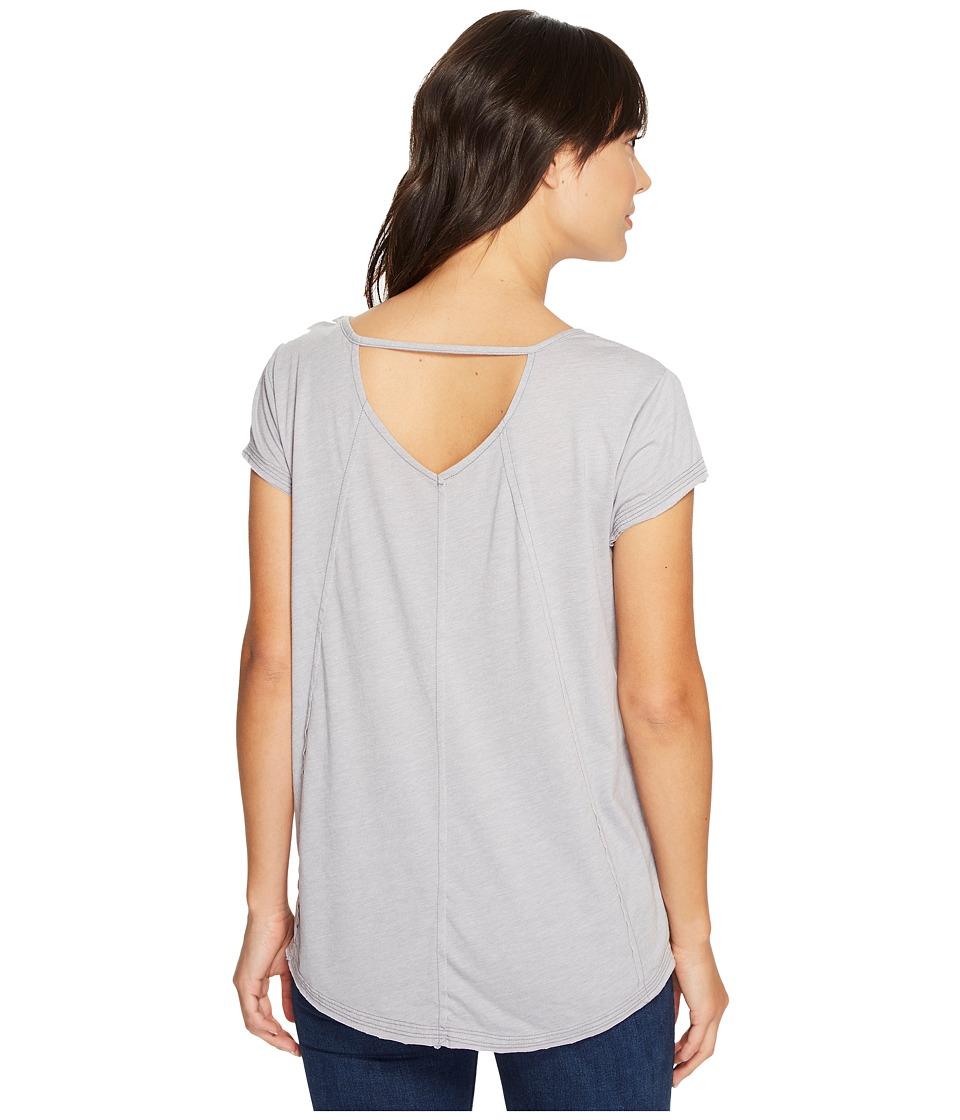 Mod-o-doc - Heather Jersey Raw Edge Keyhole Back Tee (Silver) Women's T Shirt