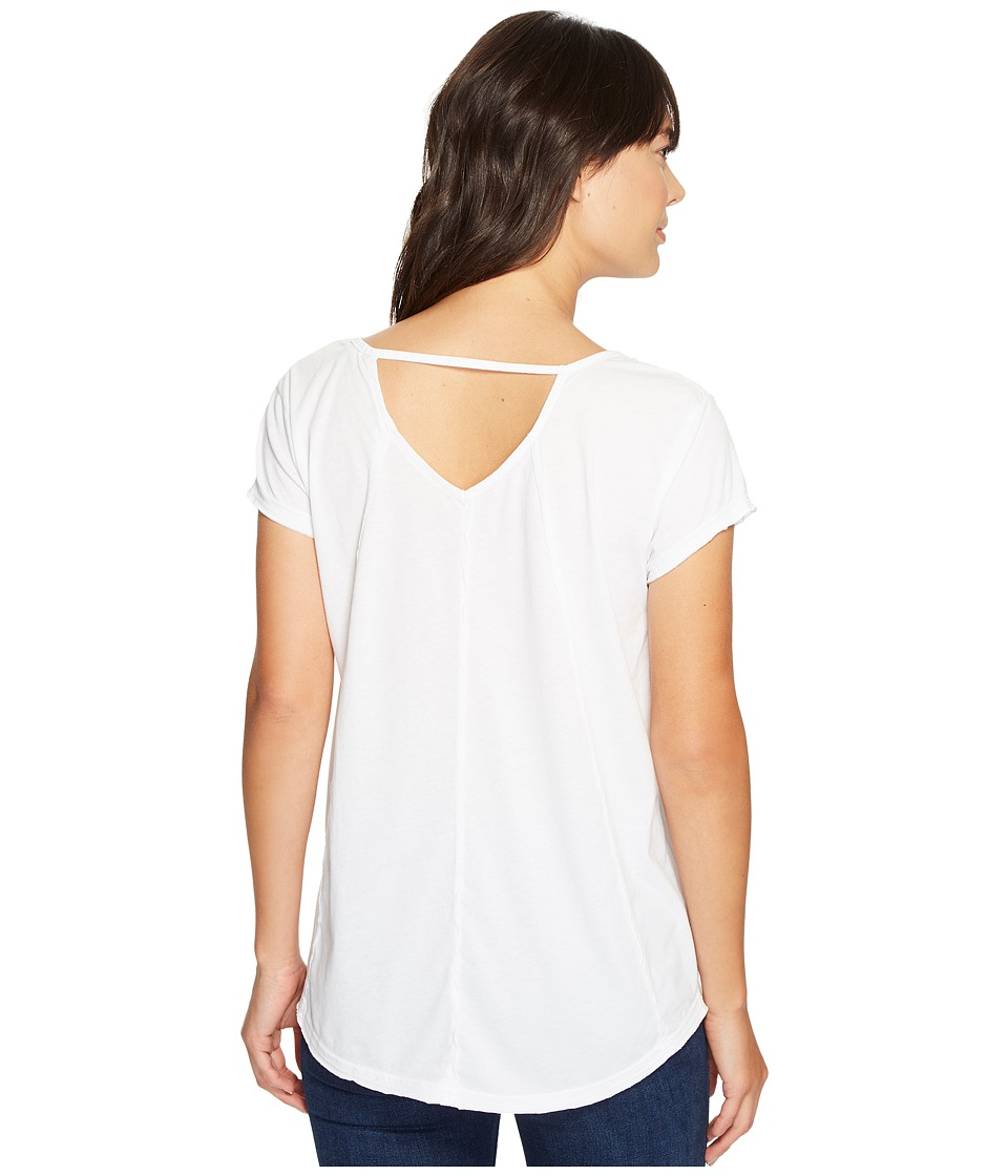 Mod-o-doc - Heather Jersey Raw Edge Keyhole Back Tee (White) Women's T Shirt