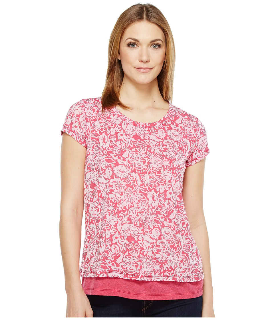 Mod-o-doc - Wildflower Burnout Jersey Double Layer Short Sleeve Tee (Berry Red) Women's T Shirt