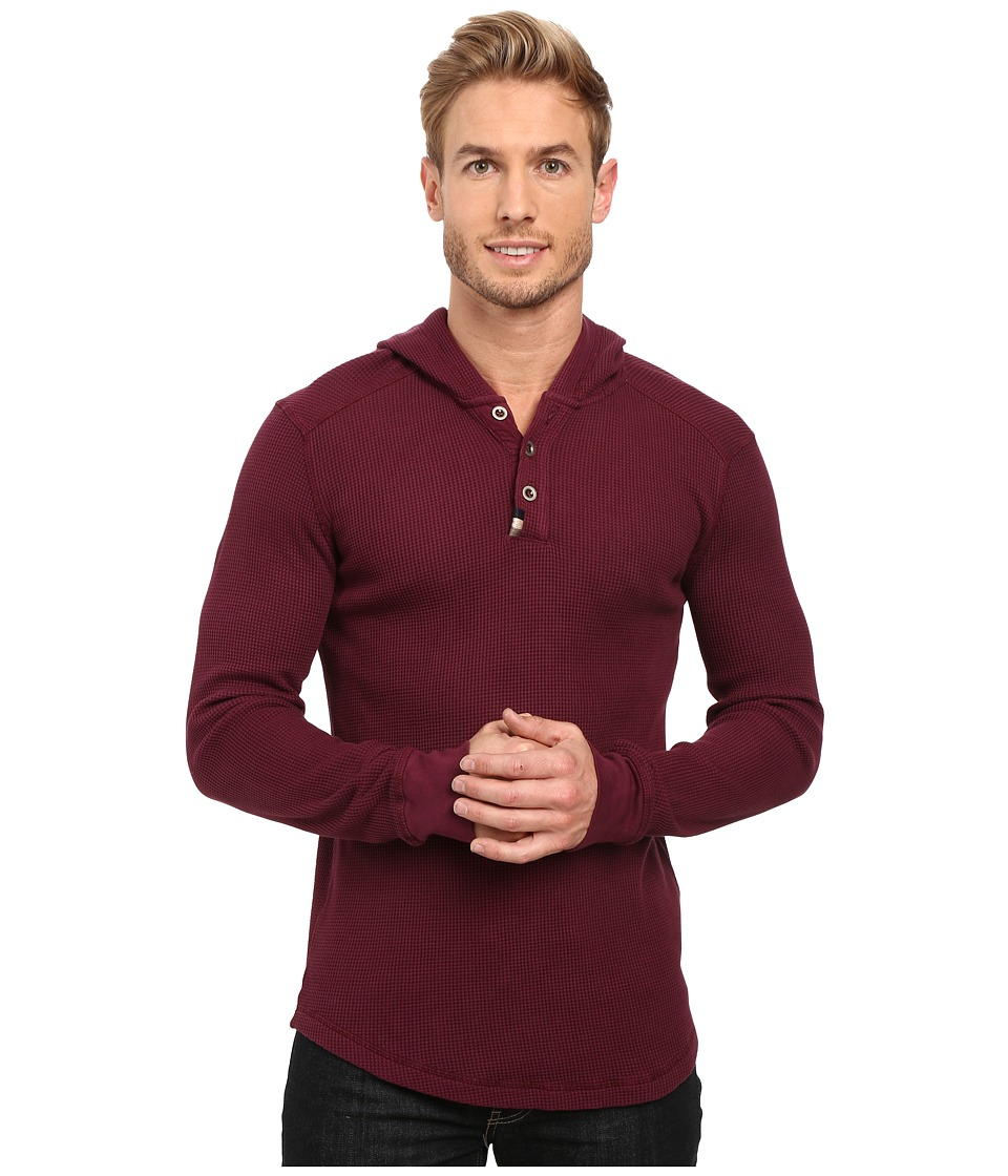 Mod-o-doc - Santa Cruz Long Sleeve Henley Hoodie (Wine) Men's Sweatshirt