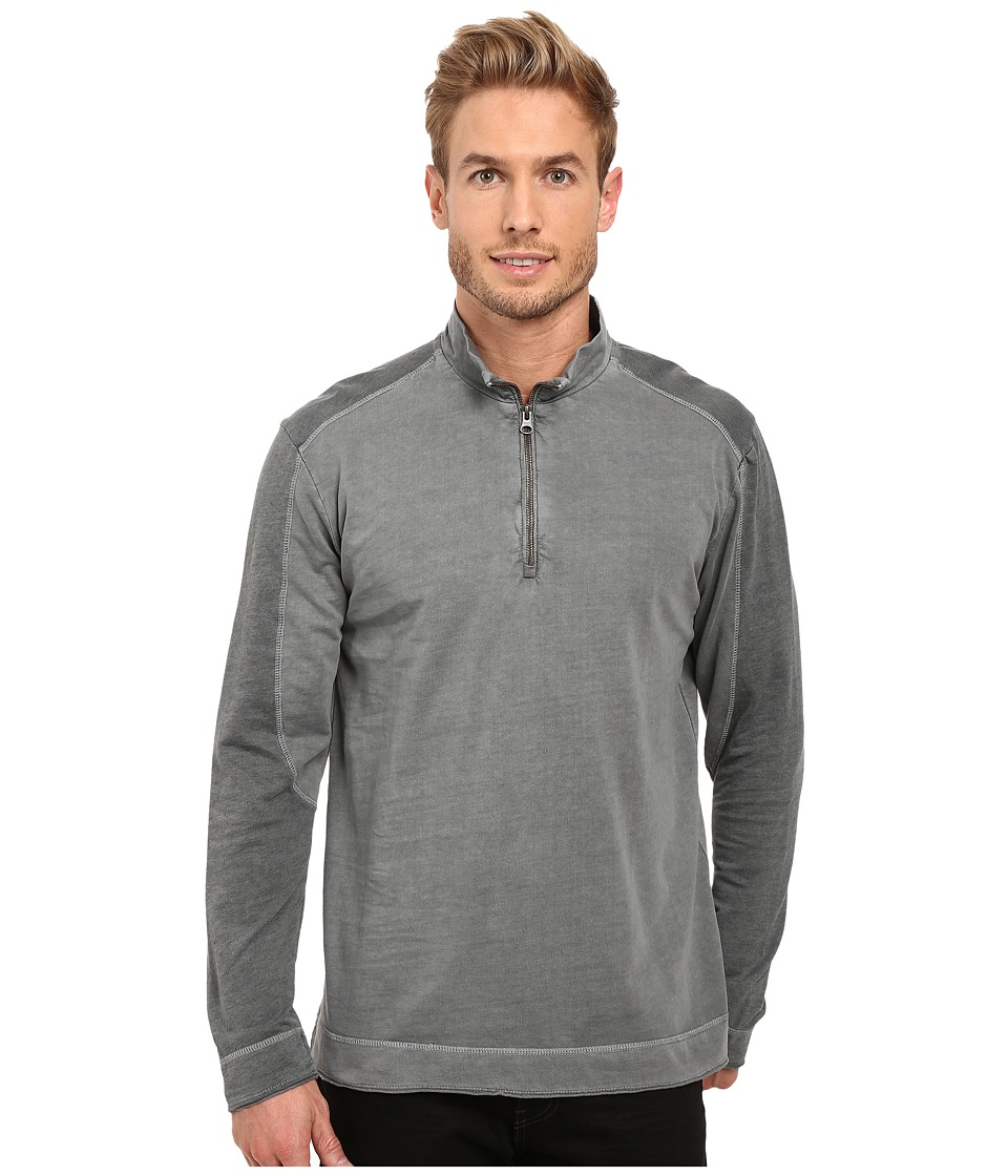 Mod-o-doc - Carmel Heather Block 1/4 Zip Funnel Pullover (Stormy) Men's Long Sleeve Pullover