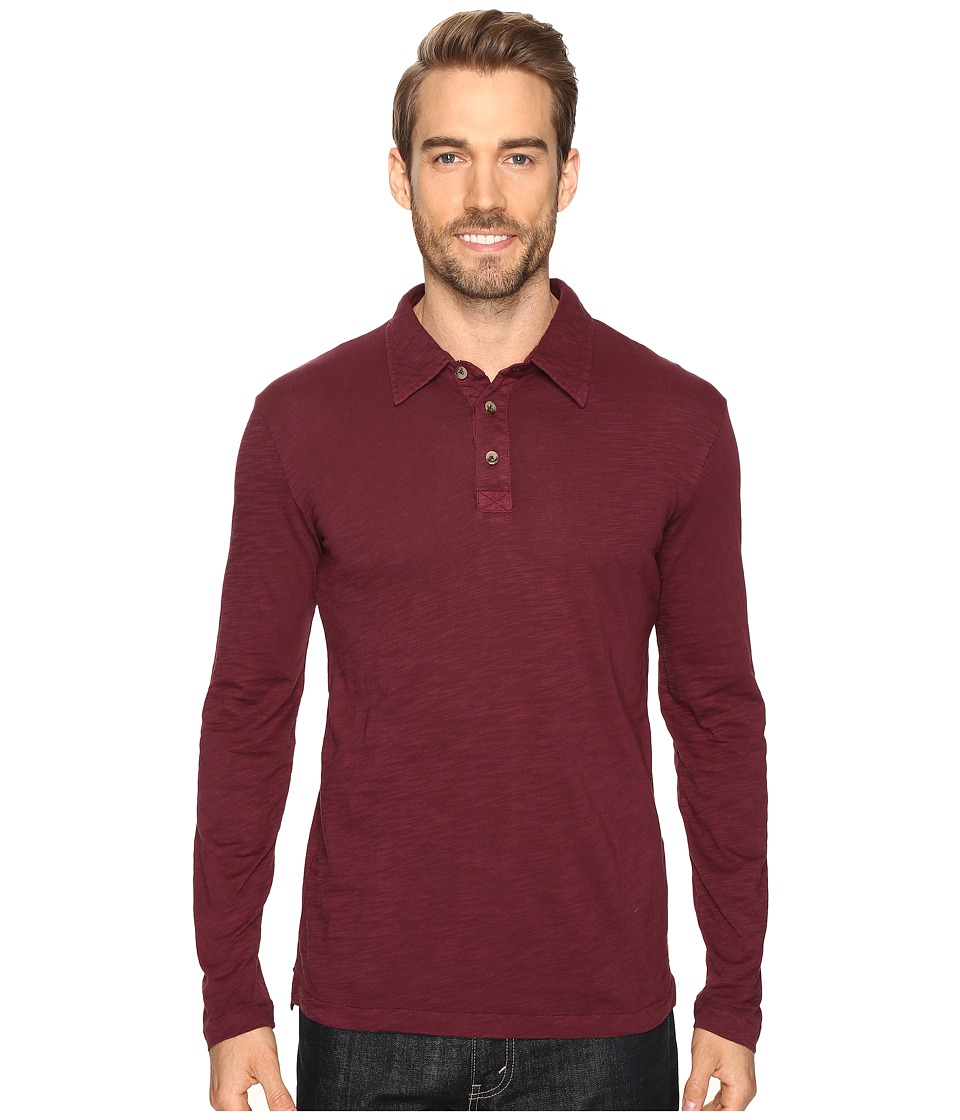 Mod-o-doc - Salt Point Long Sleeve Slub Jersey Polo (Wine) Men's Long Sleeve Pullover