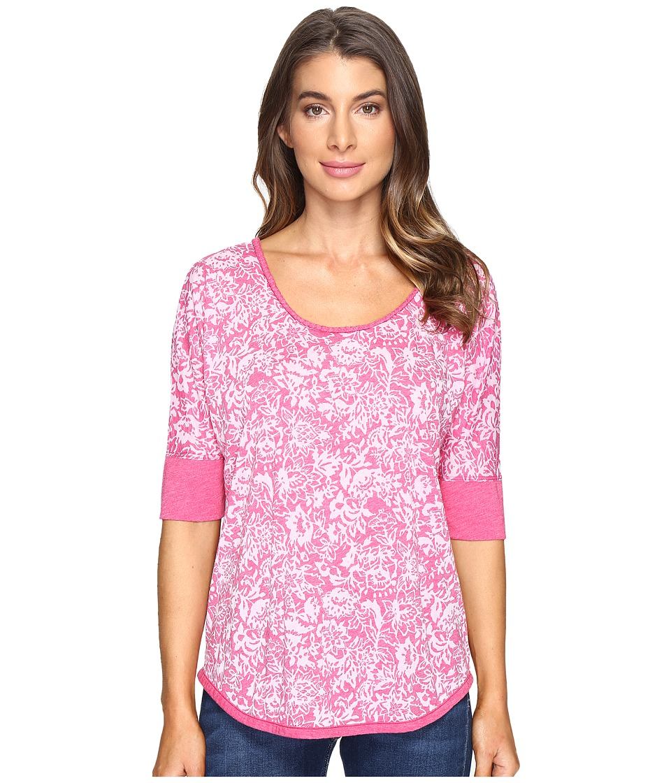 Mod-o-doc Wildflower Burnout Jersey Scoop Neck Pullover (Berry Red) Women