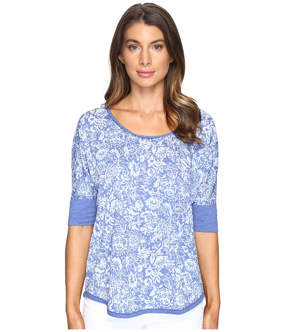 Mod-o-doc Wildflower Burnout Jersey Scoop Neck Pullover (Nautical) Women