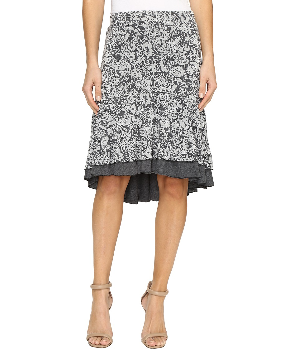 Mod-o-doc - Wildflower Burnout Double Layer Skirt (Black) Women's Skirt