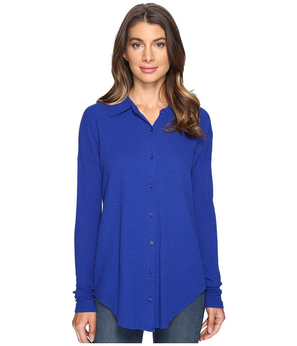 Mod-o-doc Textured Slub Stripe Back Crossover Button Front Shirt (Nautical) Women