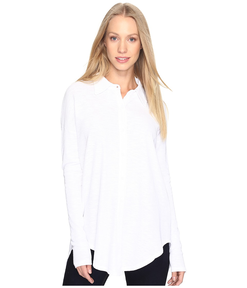 Mod-o-doc - Textured Slub Stripe Back Crossover Button Front Shirt (White) Women's Clothing
