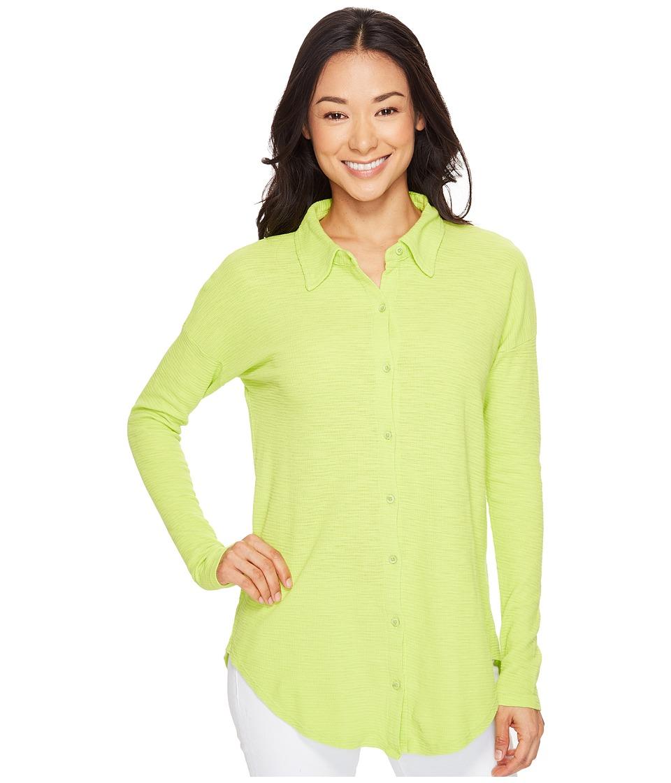 Mod-o-doc Textured Slub Stripe Back Crossover Button Front Shirt (Lime) Women