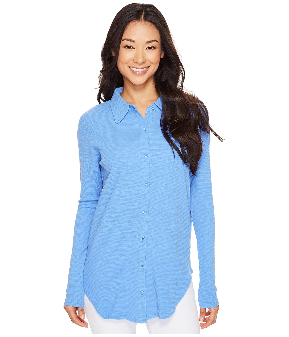 Mod-o-doc Textured Slub Stripe Back Crossover Button Front Shirt (Peri) Women