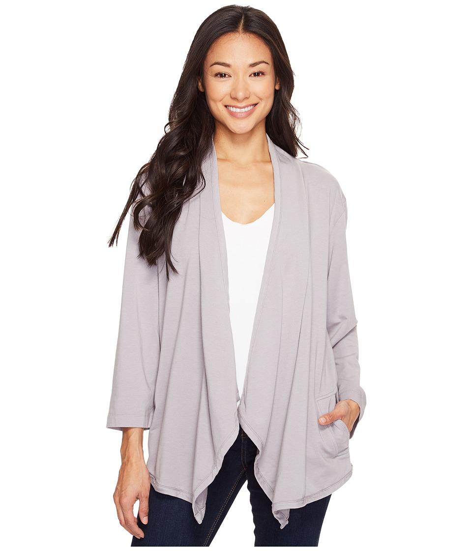 Mod-o-doc - Cotton Modal Spandex French Terry Open Front Cardigan (Silver) Women's Sweater
