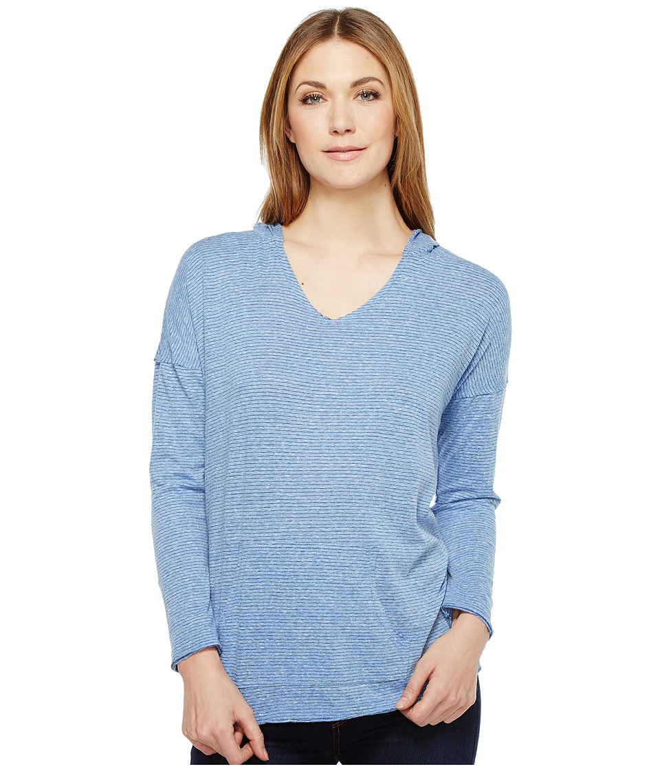 Mod-o-doc Pinstripe Jersey Boxy Pullover Hoodie (Blue) Women