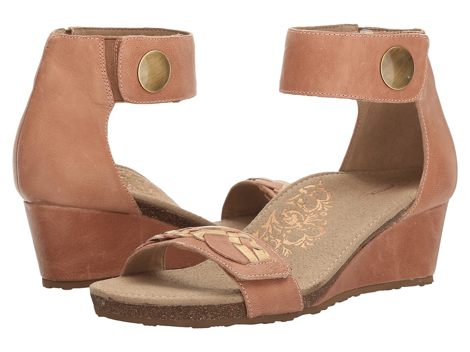 Aetrex Becca Ankle Strap Wedge (Blush) Women