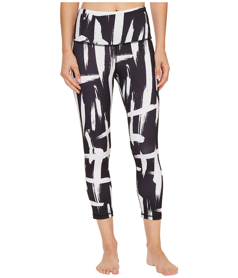 Lucy - Studio High-Rise Hatha Capris (Lucy Black/Lucy White Brush Stroke Print) Women's Capri