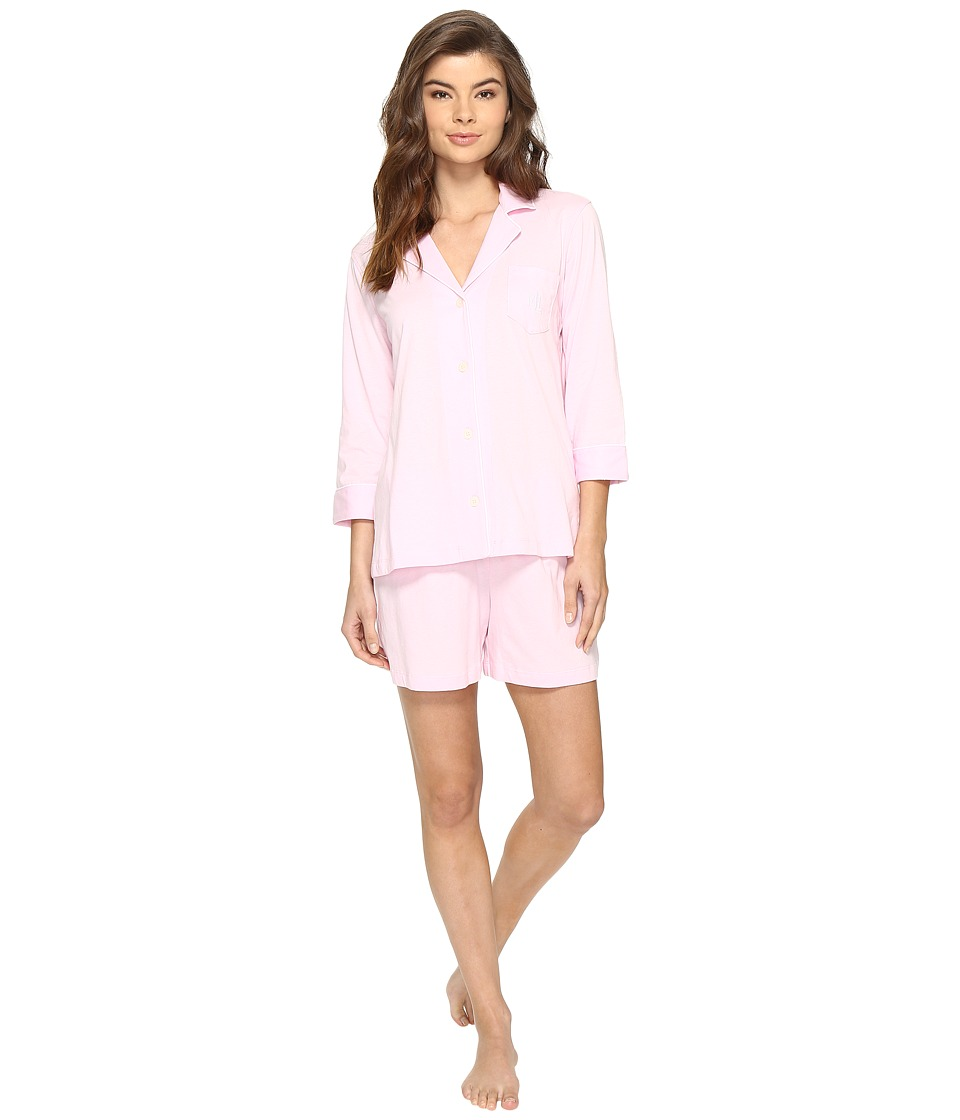 LAUREN Ralph Lauren - 3/4 Sleeve Notch Collar Short Set (Think Pink) Women's Pajama Sets